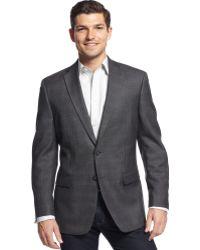 Calvin Klein Brown Windowpane Silkblend Slimfit Sport Coat - Lyst