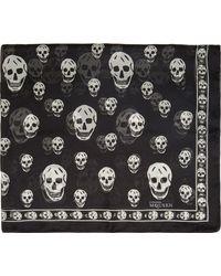 Alexander McQueen Black Skull Chiffon Scarf - Lyst