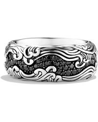 David Yurman Waves Wide Band Ring with Black Diamonds - Lyst