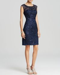 Sue Wong Dress - Cap Sleeve Illusion Embroidered Beaded Sheath - Lyst