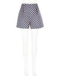 River Island Blue Floral Print High Waisted Shorts - Lyst