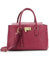 London Fog Ostrich-Embossed Faux Leather Satchel - Lyst