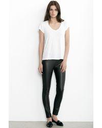 Velvet By Graham & Spencer Lenore Ponti With Faux Leather Panel Legging black - Lyst