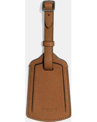 COACH - Luggage Tag In Refined Pebble Leather - Lyst