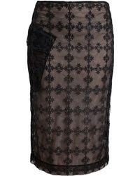Simone Rocha Net Pencil Skirt with Floral Embroidery - Lyst
