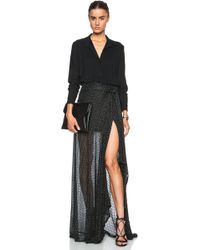 Jay Ahr Embroidered Silk Gown - Lyst