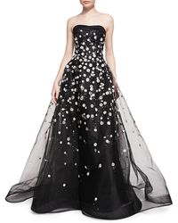 Carolina Herrera Strapless Ball Gown W Embroidered Daisies - Lyst