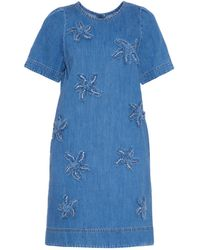 MUVEIL - Starfish-Appliqué Denim Dress - Lyst