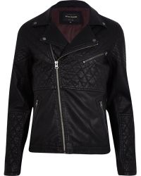 River Island Black Leatherlook Quilted Panel Biker Jacket - Lyst