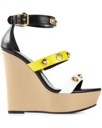 Versace Three Strap Wedge Sandals - Lyst