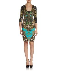Just Cavalli Woven Sateen Tapestry Print Dress - Lyst