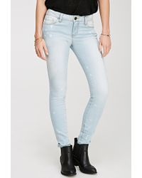 Love 21 Bleached Low-Rise Skinny Jeans - Lyst