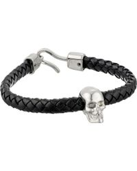 Alexander McQueen Skull and Leather Bracelet - Lyst