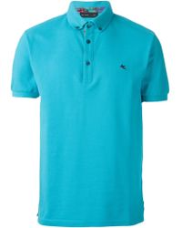 Etro Button Down Collar Polo Shirt - Lyst
