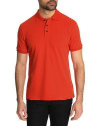 Armani Fitted Polo Shirt With Orange Ac Logo On Chest - Lyst