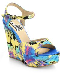 Love Moschino Tie-Dye Printed Wedge Sandals - Lyst