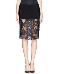 Ms Min Lacquer Lace Underlay Crepe Peplum Skirt - Lyst