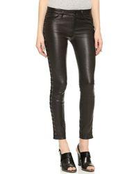 Club Monaco Sabelle Leather Leggings - Black - Lyst