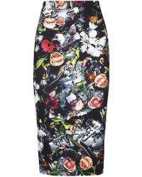 McQ by Alexander McQueen Floral Jersey Pencil Skirt - Lyst