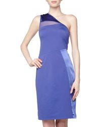 Halston Heritage Oneshoulder Combo Sheath Dress Royal Blue Small - Lyst