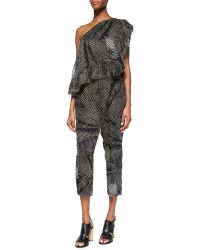 Thakoon Addition Printed Ruffled One-Shoulder Jumpsuit - Lyst