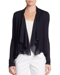 Elie Tahari Silk-trimmed Draped Knit Top - Lyst