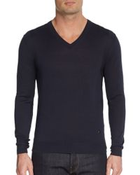 Versace V-neck Silk-jersey Sweater - Lyst