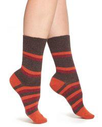 Pantherella | 'selma' Stripe Wool Blend Crew Socks | Lyst
