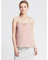 Banana Republic Sheer Inset Cami - Lyst
