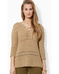 Ralph Lauren Lauren Laceup Sweater - Lyst