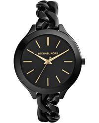 Michael Kors Womens Slim Runway Black Ionplated Stainless Steel Link Bracelet Watch 42mm - Lyst