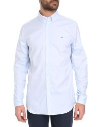 Lacoste Sky-Blue Pinpoint Shirt - Lyst