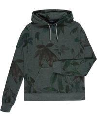Paul Smith Dark Green Garment-Dye Leaf Print Hoodie - Lyst