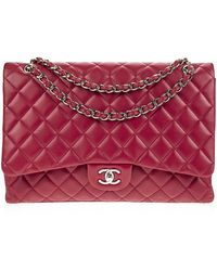 Chanel | Pre-owned: Red Lambskin Maxi Flap Bag | Lyst