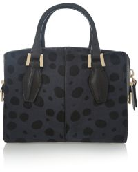 Tod's Dcube Bauletto Mini Calf Hair and Leather Tote - Lyst