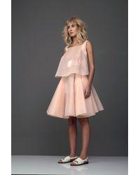 Marchi Pastel Peach Dress With Belt - Lyst
