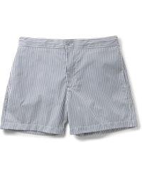 Officine Generale - Roman Mid-length Striped Poplin Swim Shorts - Lyst