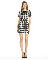 French Connection Cotton Blend Check Pattern Printed Sleeveless Dress - Lyst