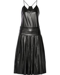 DKNY Drop Waist Faux Leather Midi Dress - Lyst