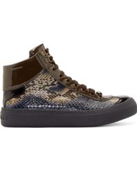 Jimmy Choo Navy Python Argyle High_Top Sneakers - Lyst