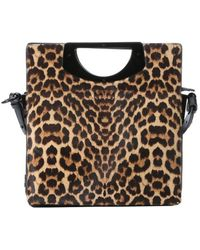 Christian Louboutin Leopard Print Pony Hair And Black Leather 'Passage' Convertible Top Handle Bag - Lyst