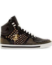 Versace Black Studded Leather High_top Sneakers - Lyst