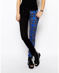 Tripp Nyc - Plaid Printed Split Leg Skinny Jeans - Lyst