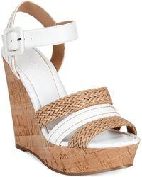 Charles by Charles David Renata Braided Platform Wedge Sandals - Lyst