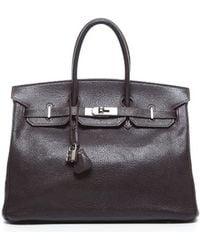 Hermes Preowned Gulliver Leather Birkin 35 Bag - Lyst