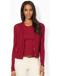 Lauren by Ralph Lauren Knit Cotton Blend Sweater - Lyst