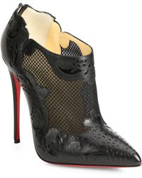 Christian Louboutin Mandolina Mesh Leather Ankle Boots - Lyst