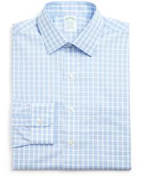 Brooks Brothers Wide Box Check Non–Iron Dress Shirt - Classic Fit blue - Lyst