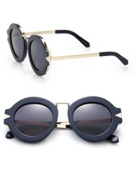 Karen Walker Maze 47Mm Round Sunglasses blue - Lyst