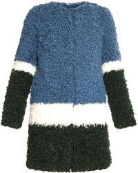 Shrimps - Plum Colour-block Faux-fur Coat - Lyst